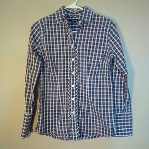 Lands End 2 Purple White Plaid Button Down Shirt